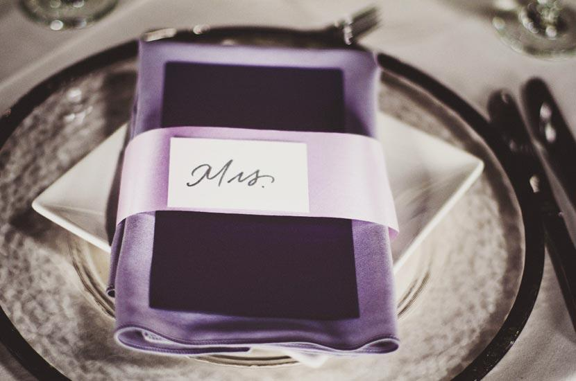 THIS SEAT'S TAKEN: Satin ribbon in lilac added sheen and tone-on-tone depth to the napkins.