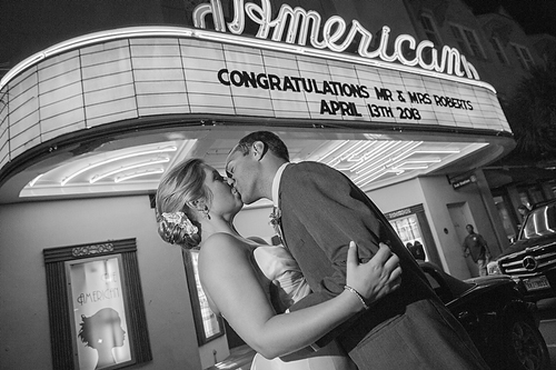 NAME IN LIGHTS: The iconic American Theater on King Street wishes Jessica and Ryan well.