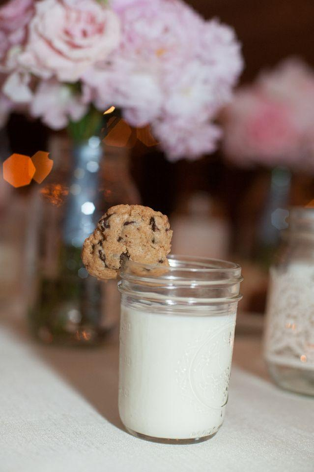 MIDNIGHT SNACK: The bride and groom surprised guests with a late night treat of milk and chocolate chip cookies served in Mason jars.
