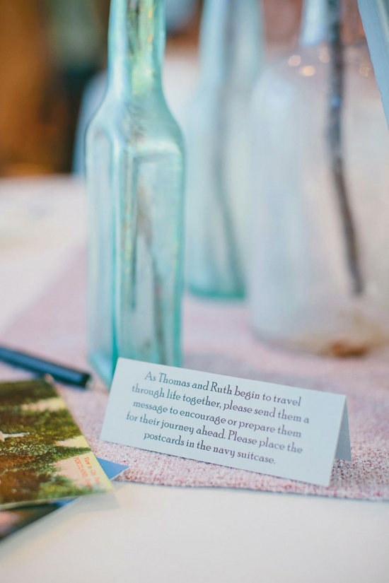 SIGNED WITH LOVE: Adding to the travel inspired décor, notes on the reception tables instructed guests to take a postcard and write words of love and advice for the newlyweds.