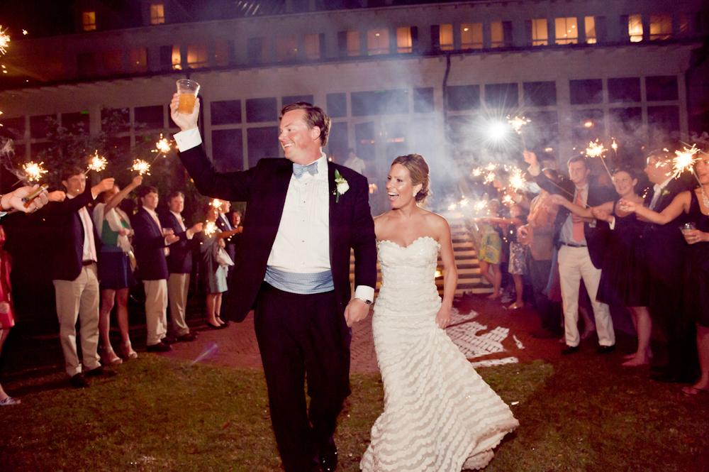 "CHEERS! The newlyweds—who shared a first dance to Frank Sinatra's ""The Way You Look Tonight""—departed amid guests' sparklers."