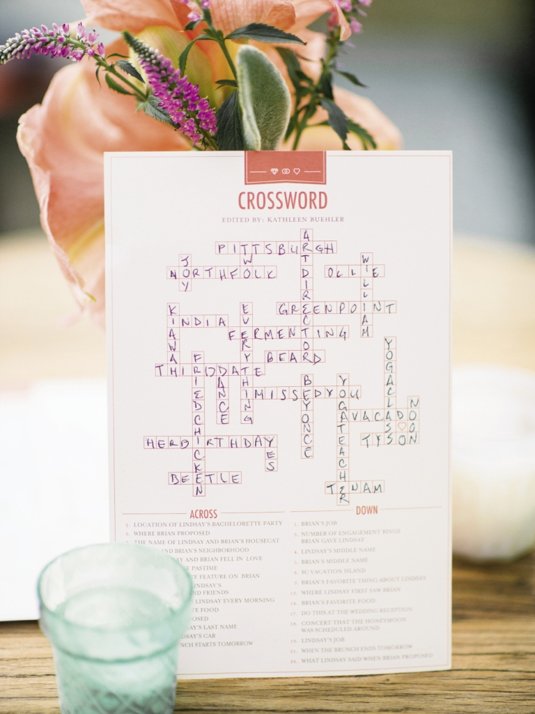 RIDDLE ME THIS: Maid of honor Kathleen wrote the clues for a Lindsay-and-Brian-themed crossword puzzle for guests to play during the reception.