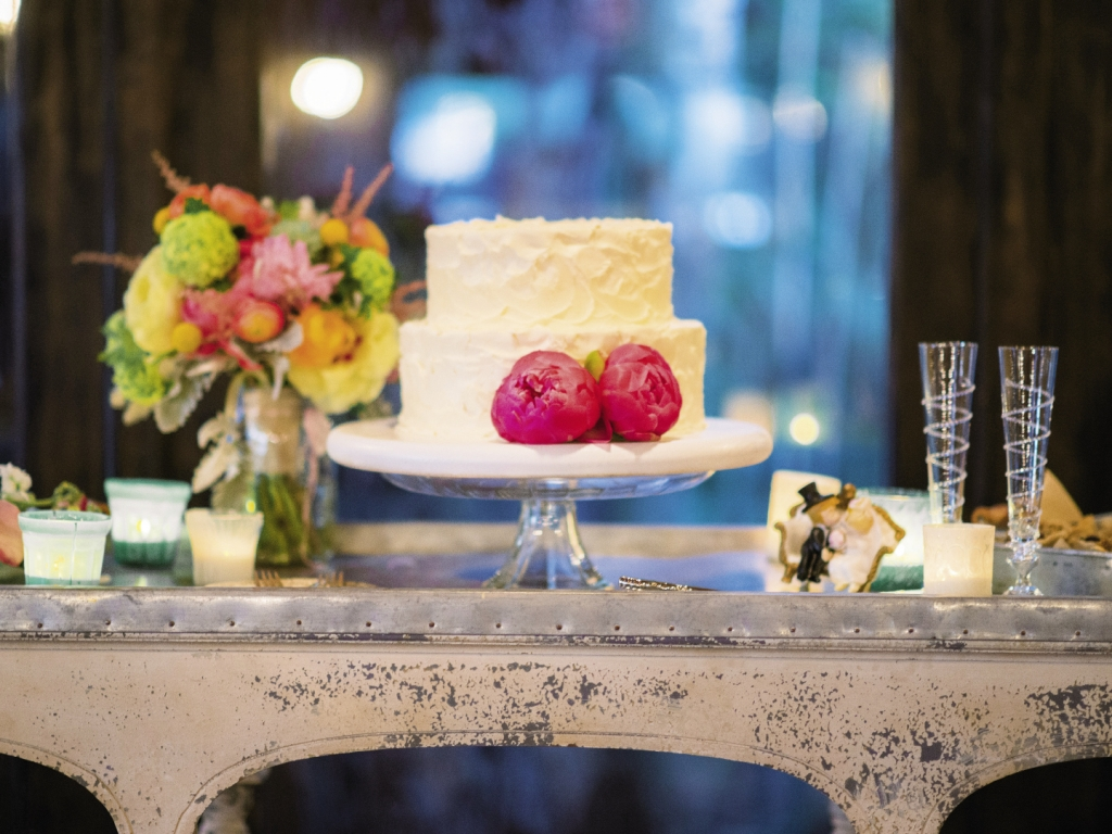"SWEET THING: Lauren Mitterer of WildFlour Pastry whipped up a vegan chocolate cake with  coconut icing for the couple. ""It was gobbled up!"" says Lindsay."