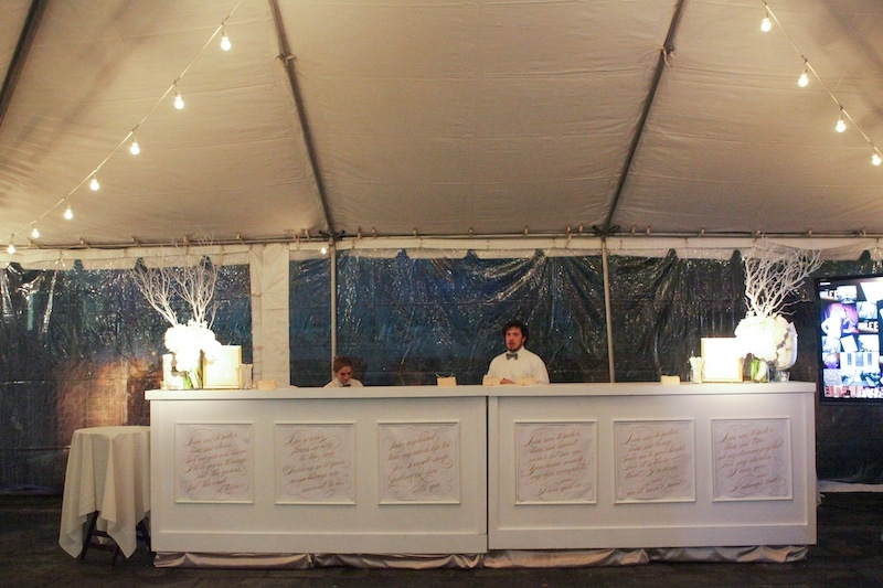 Signage by Sixpence Press. Bar from EventWorks. Tent from Snyder Events. Bar and wine service by Fish Restaurant. Image by The Connellys.