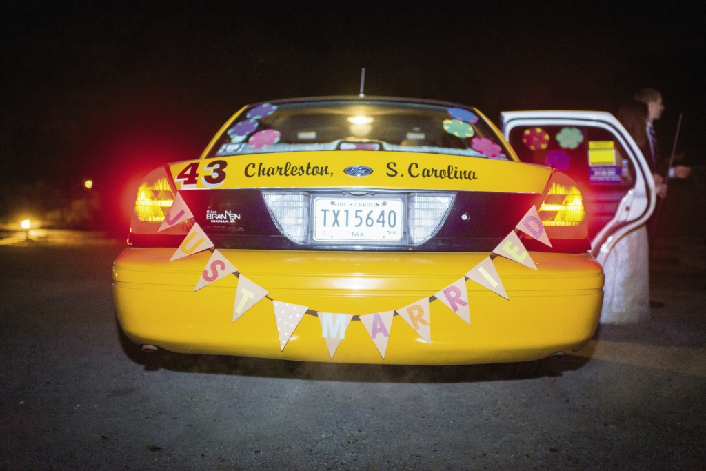CAB FARE: New Yorkers through and through, Brian and Lindsay enlisted a yellow taxi to whisk them away. Katie made it their own with funky floral decals and a pennant banner. After their wedding weekend, the newlyweds embarked on a honeymoon in Nicaragua.