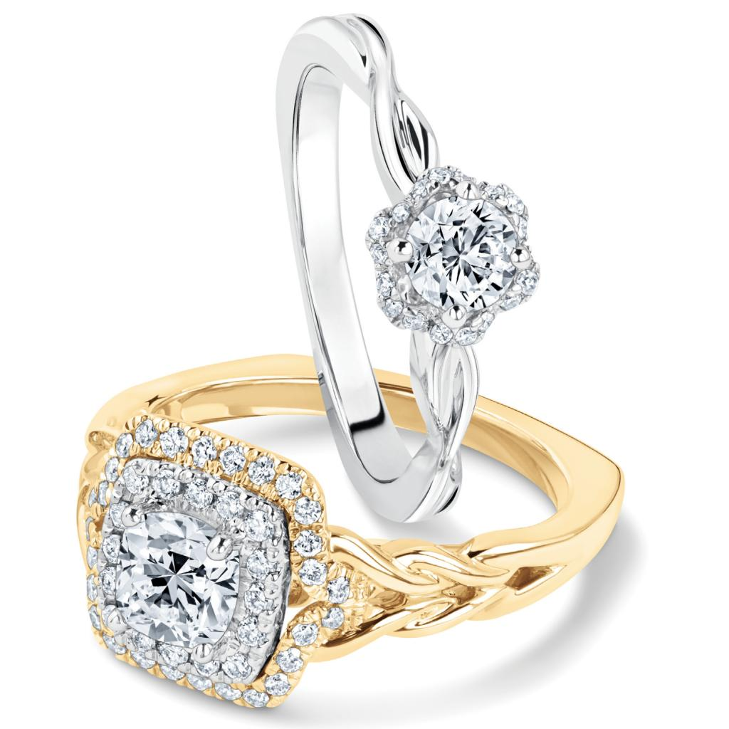 (Top) The Kleinfeld Fine Jewelry Whitehall ring in 14K white gold with diamonds (.50 total cts.) from REEDS Jewelers ($2,000); (Bottom) Kleinfeld Fine Jewelry Essex ring in 14K gold with a cushion-cut center diamond framed by a double halo of round diamonds (1 total cts.) from REEDS Jewelers ($4,900)