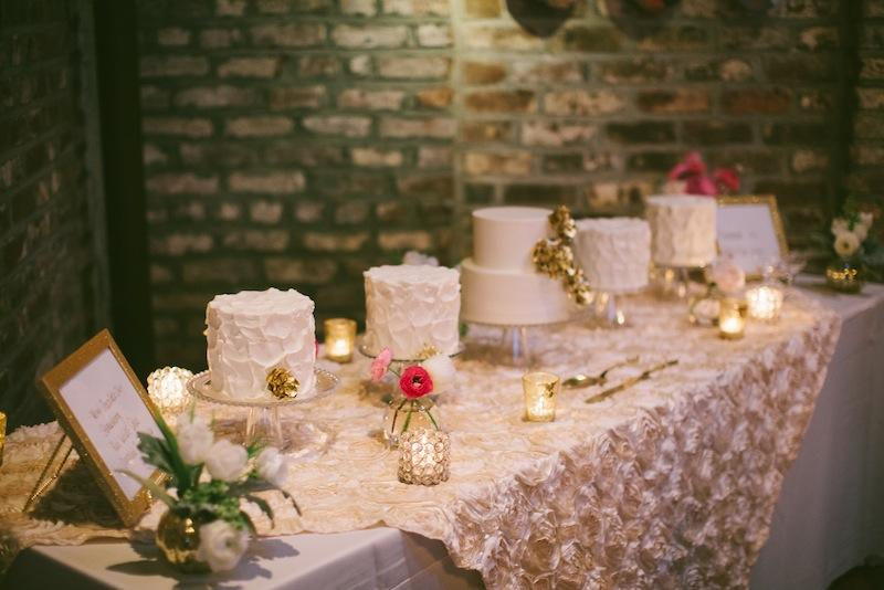 Cakes by D'lish. Wedding design and coordination by Sage Innovations. Linens by Connie Duglin. Florals by Branch Design Studio. Image by Juliet Elizabeth Photography.