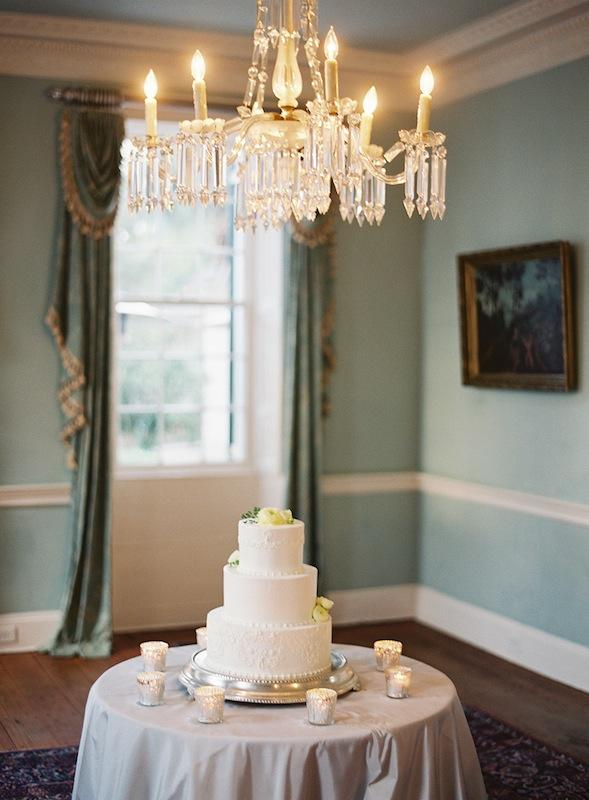 Cake by Fish Restaurant. Linens from La Tavola. Image by Virgil Bunao Photography at Lowndes Grove Plantation.