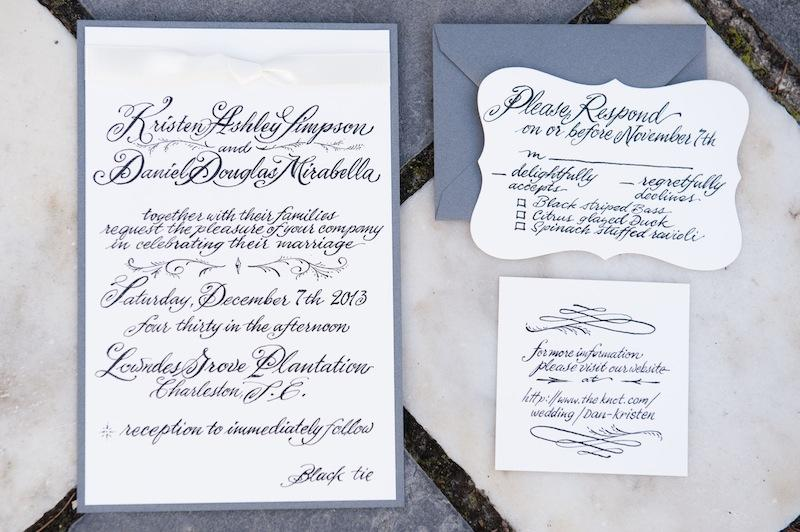 Stationery suite designed by the father of the groom. Image by Reese Moore Weddings.