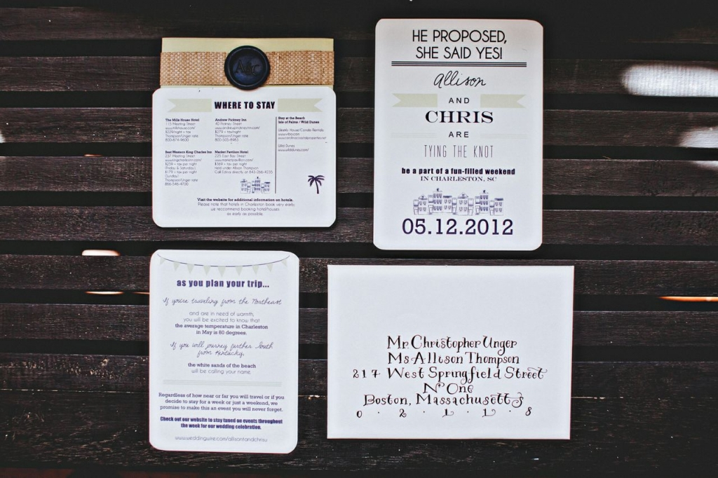 TOUR GUIDE: Allison worked with dodeline design to create a stunning stationery suite sprinkled with helpful travel tips.
