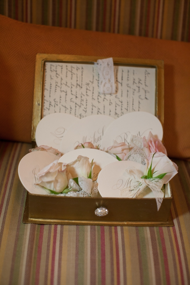 SPECIAL DELIVERY: Crystal fell in love with the vintage wedding box she stumbled across on Etsy.com and ended up using it to transport the groom and groomsmen's pink garden rose boutonnieres.