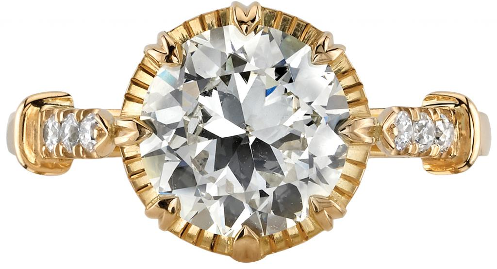 Single Stone Arielle ring from Croghan's Jewel Box, featuring a 2.11ct. Old Europeancut center diamond with side diamonds (.11 total cts.) in 18K yellow gold ($17,800)