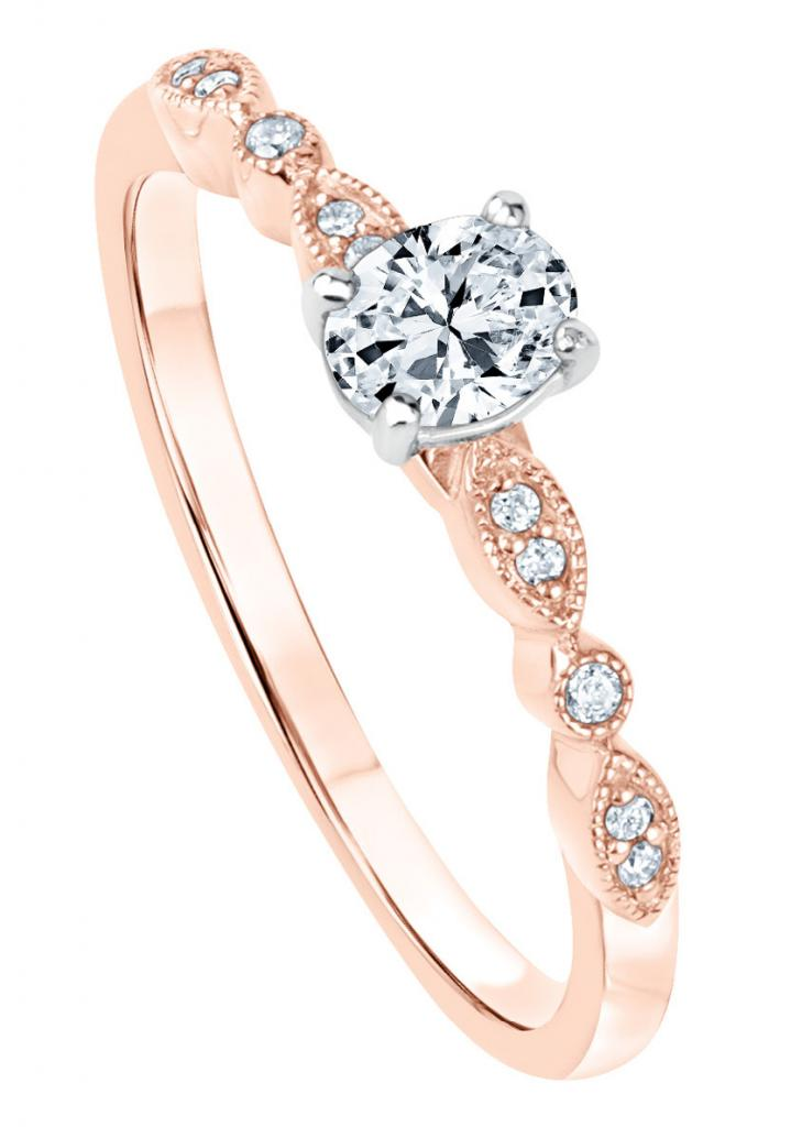 1/3 ct. center oval diamond with diamond accents (3/8 total cts.) set in 14K rose gold from REEDS Jewelers ($1,599)