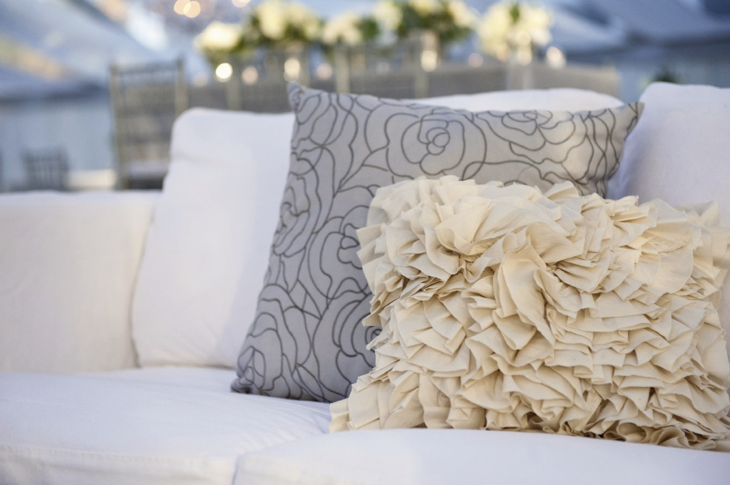 FINISHING TOUCHES: A Charleston Bride brought in textured elements, like these throw pillows, to add variety to the mostly gray color palette