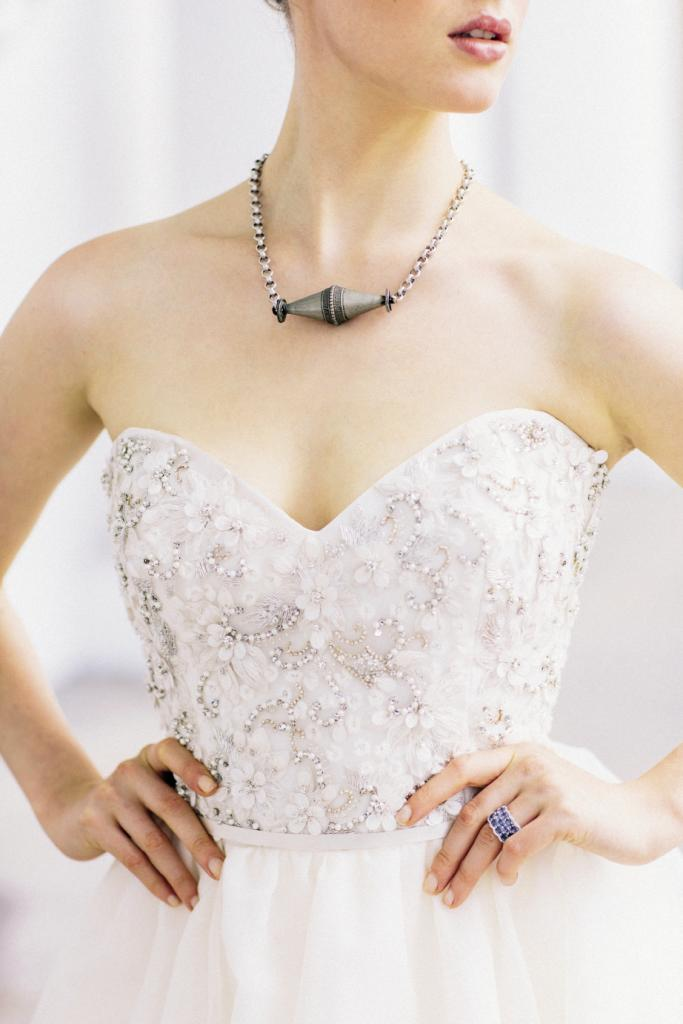 UP CLOSE & PERSONAL: Jim Hjelm's organza gown with embroidered and  beaded bodice from Gown Boutique of Charleston. Silver  Turkish necklace from Dixie Dunbar Studio. 18K white gold ring with sapphires and  diamonds from Croghan's Jewel Box.