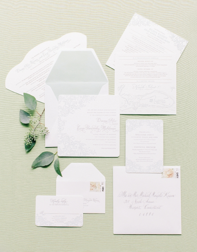 WHAT'S IN STORE: Letterpress stationery from the  Lettered Olive bore sage green designs that previewed the understated day-of palette.