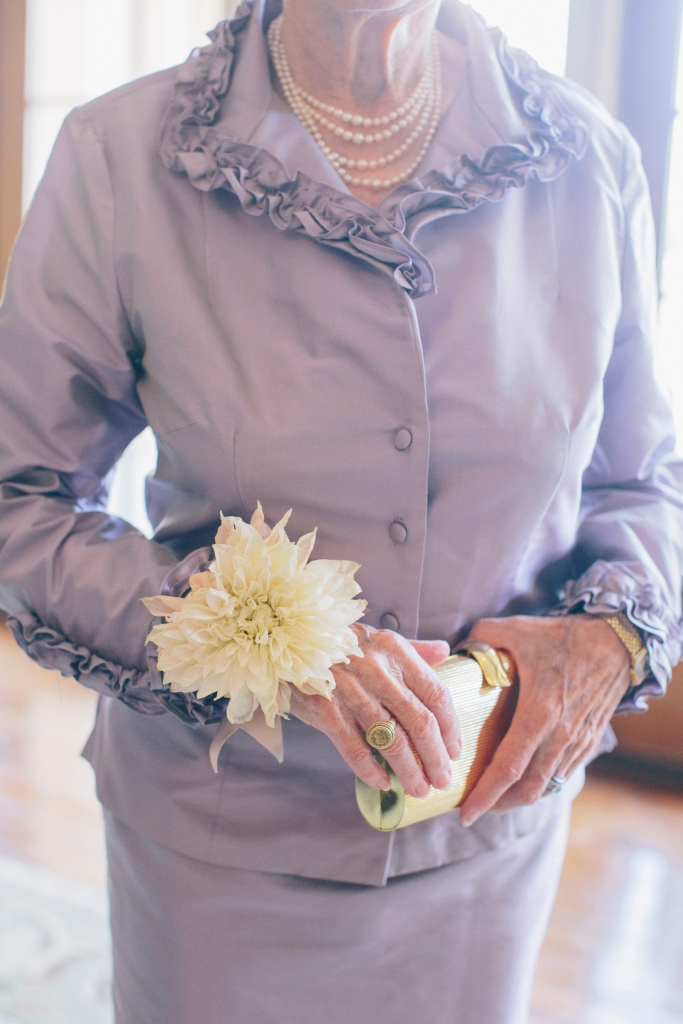 GRANDMOTHER, MAY I: Aileen Kassen, Diana's paternal grandmother, dazzled in a lavender skirt suit, pearls, and an oversized dahlia corsage.