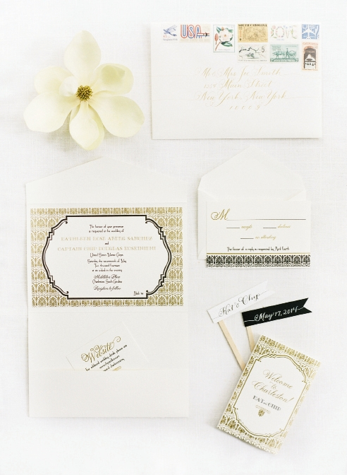 FLY AWAY: Karson Butler Events adorned envelopes with vintage stamps related to aviation and the couple's home states of California and Minnesota. Calligrapher Laura Hooper added the final flourishes.