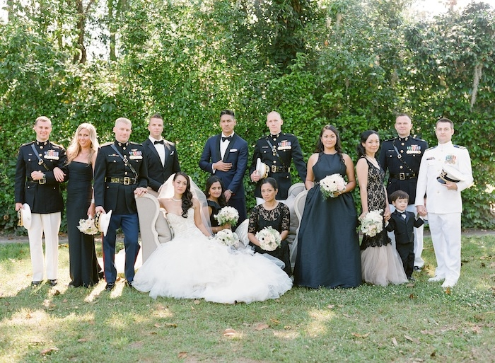 Gown by Mark Zunino. Bridesmaid attire from Rent the Runway. Image by KT Merry Photography at Middleton Place.