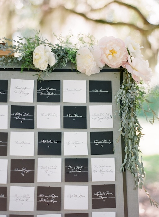 Butler cards by Laura Hooper Calligraphy. Wedding design by Karson Butler Events. Florals by Charleston Stems. Image by KT Merry Photography at Middleton Place.