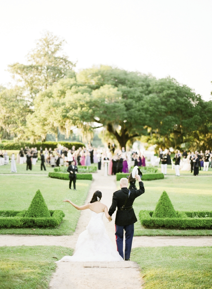 """OPPOSITES ATTRACT: Kat's a Type-A businesswoman and  fashionista, while Chip, in his own words, is """"just happy to be here."""" Says planner Emily Butler, """"They're about as different as you can imagine, but couldn't be more perfect for one another."""" The 130 guests who attended their Lowcountry soirée couldn't agree more."""