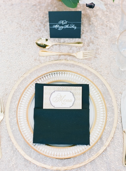 Menu by The Dandelion Patch. Linens from La Tavola. Place cards by Laura Hooper Calligraphy. Image by KT Merry Photography.