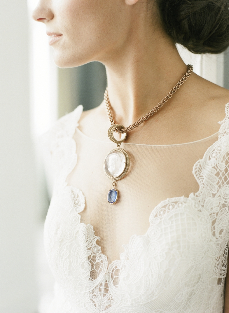 Watters' gown with  illusion neckline and back with baroque lace from Jean's Bridal. Patrizia Daliana's pendant necklace from The Hidden Countship. Image by Corbin Gurkin.