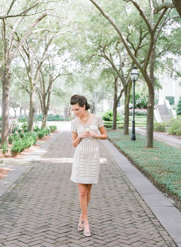 """Adrianna Papell's short sequin dress from Bella Bridesmaid. Pella Moda's """"Gretel"""" sling-back sandals from Shoes on King. Vintage pendant necklace and chain from Out of Hand. Image by Corbin Gurkin."""