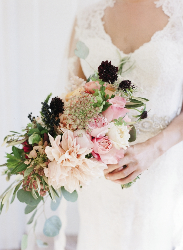 Berries, hydrangeas, and fruit made for bucolic florals.