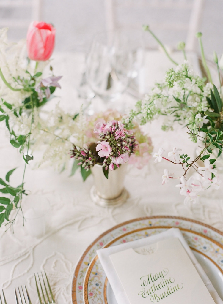 Photograph by Corbin Gurkin. Florals by Blossoms Events. Tabletop by DC Rental.