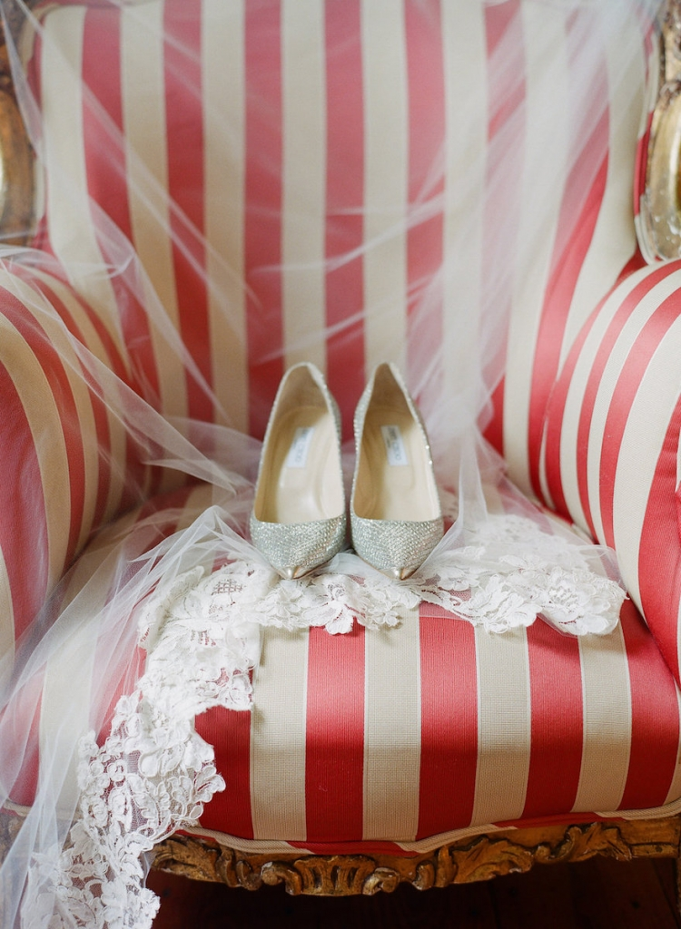 Photograph by Corbin Gurkin. Bride's shoes by Jimmy Choo.