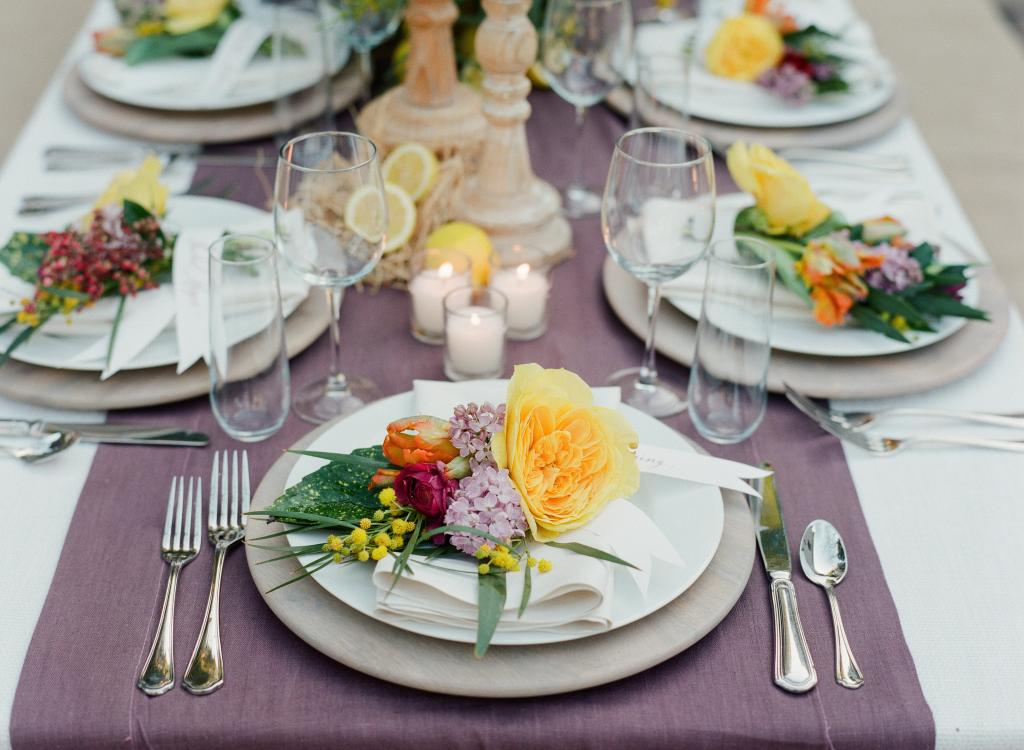 Catering by Cru Catering. Rentals, linens, tablewear, venue, and décor by Ooh! Events. Photograph by Corbin Gurkin.