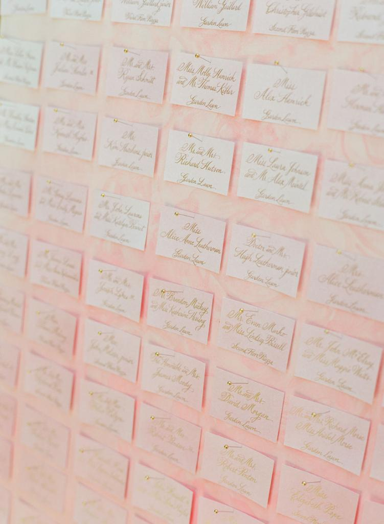 Escort cards were pinned to a canvas painted by Charleston's Natalie Taylor Humphrey.