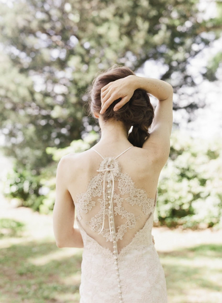 "Modern Trousseau's ""Alice"" French  Alençon blush lace  gown with halter  back from Modern Trousseau Charleston."