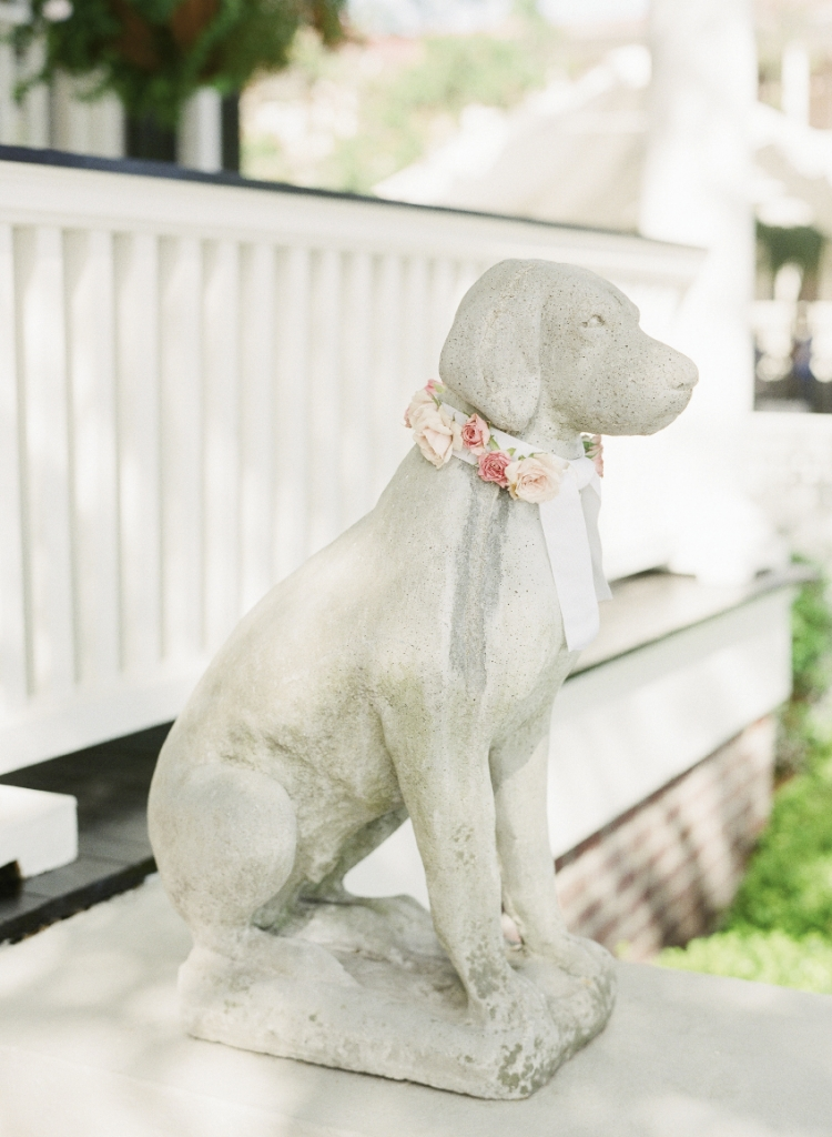 "Katie's mom regularly decorates the ""dogs"" that flank their home, so floral collars were a must. Florals by Tara Guerard Soiree. Photograph by Corbin Gurkin."