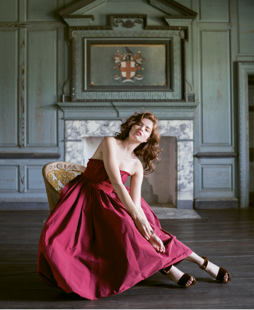 "Brock Collection's ""Pearl"" belted silk gown from RTW. Gold and ruby ring from Diamonds Direct. Brackish's ""Walker"" cuff from Drayton Hall Gift Shop. Velvet bag from Out of Hand. Dee Keller's ""Ramsey"" velvet sandals from Shoes on King"