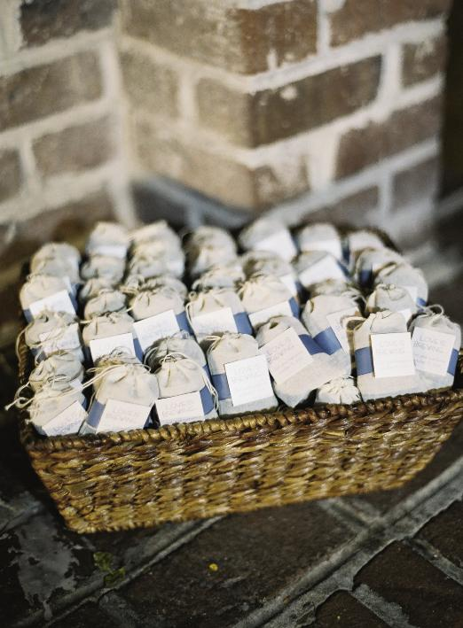 "STEEPED IN LOVE: Tea bag favors from the Etsy shop Idea Chic bore tags that read ""Love is Brewing."""