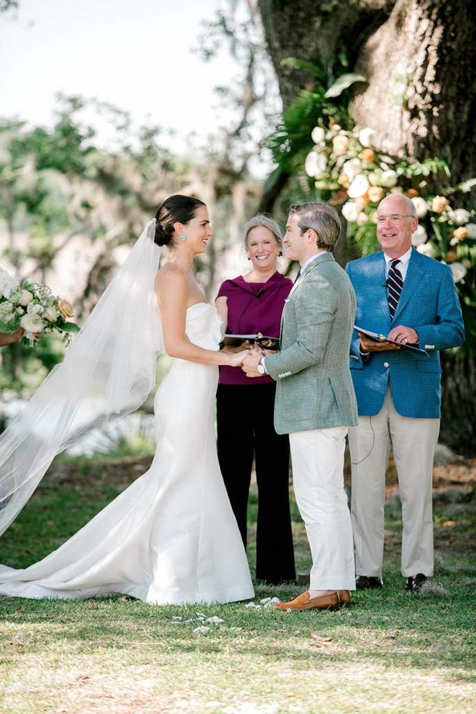 "The groom's aunt and uncle, Robert and Laura Cowin, officiated. ""They're very soulful people with an amazing marriage,"" says bride Lucy of the choice, ""and they're an inspiration to us as a model of meeting life's challenges as a united front."""