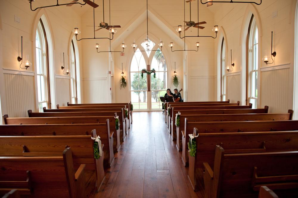 HUNG WITH CARE: Greens added freshness to the Waterside Chapel's antique and understated interior.