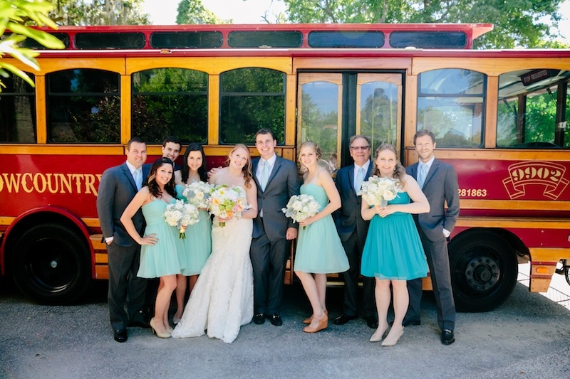 Transportation by Lowcountry Loop Trolley. Florals by Branch Design Studio. Image by Dana Cubbage Weddings.