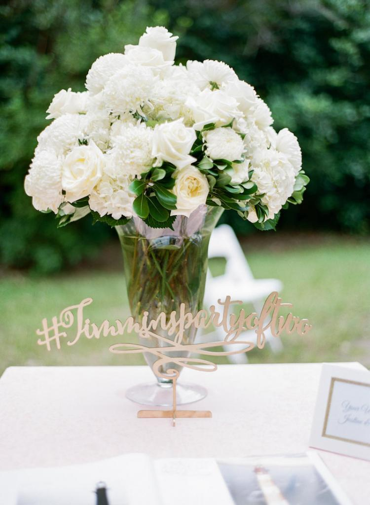 Wedding and floral design by Engaging Events. Signage from Better off Wed (Etsy). Photograph by Marni Rothschild Pictures at the Legare Waring House.