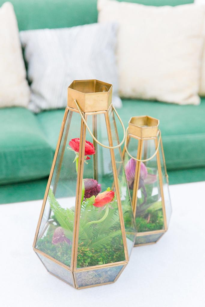 Play on Pinterest. Caroline's board included geometric elements and bold hues. Ashley's interpretation? Geo terrariums housing bright blooms.