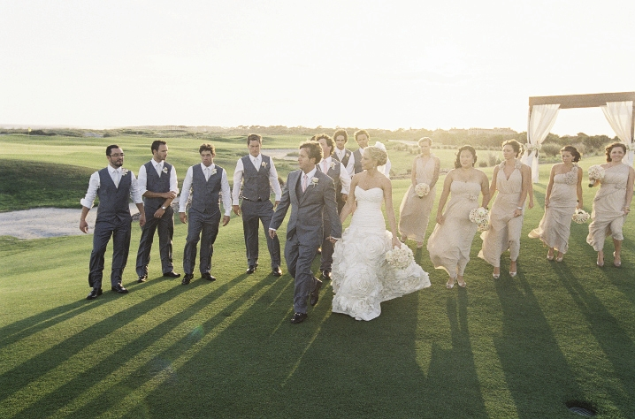 GIVING THANKS: The bridal party was gifted with vintage hairpins and earrings to accent their champagne-colored frocks by Bari Jay. Groomsmen, in Express, received designer wallets.