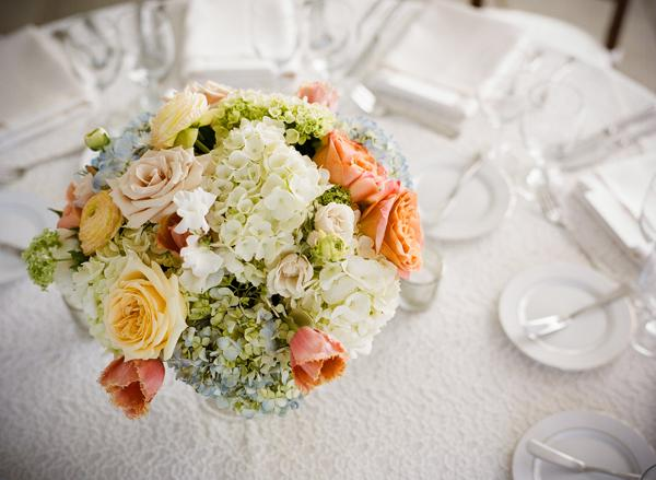 PASTEL POWER: Event planner Luke Wilson covered reception tables with textured white linens.