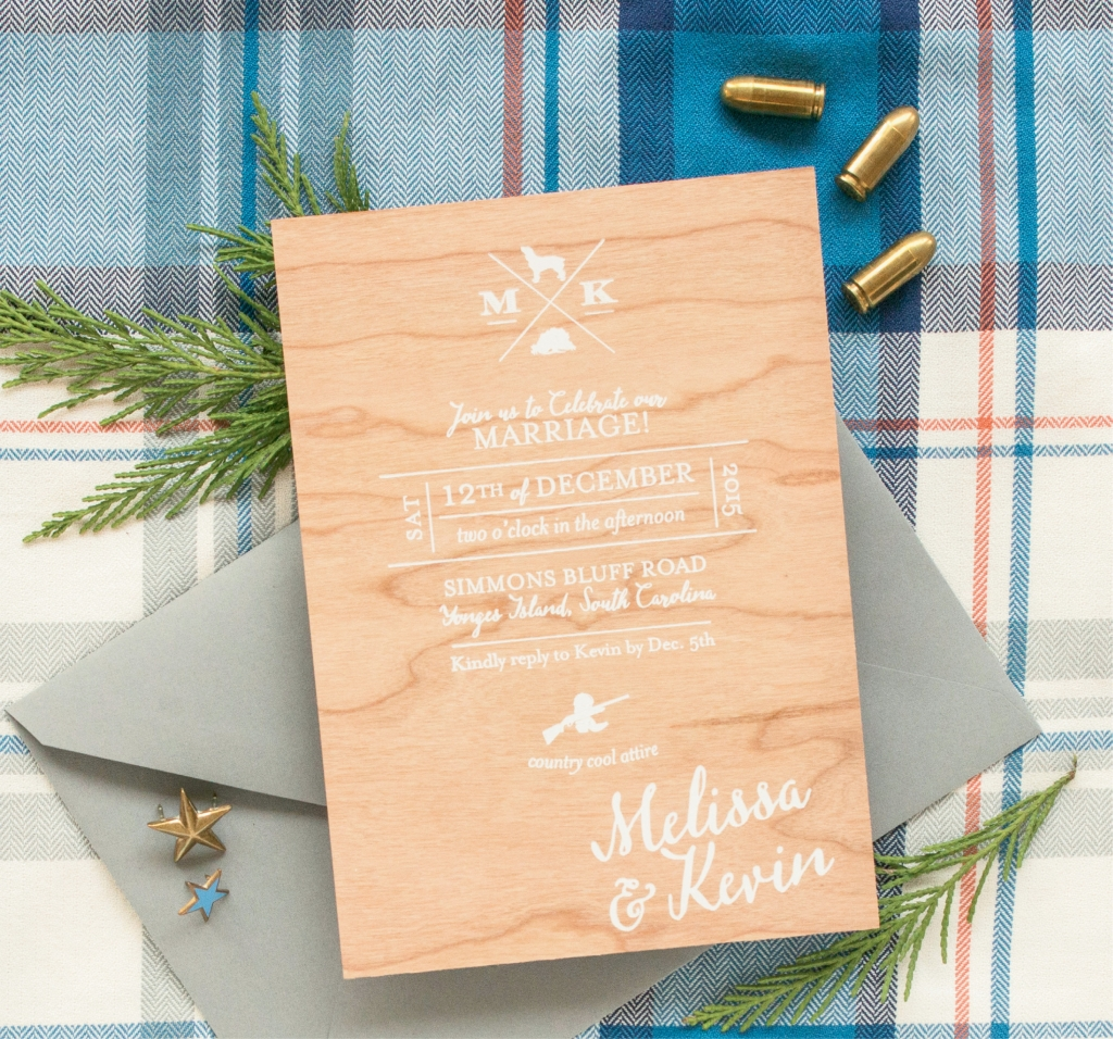 "A Charleston Bride's Melissa  Barton and her husband, Kevin  Williams, let guests know their reception was going to be casual with the wording on their invitation (""country cool attire"") and icons (cowboy boots, plus a shotgun, live oak, and Boykin). (Photograph by Leigh Webber)"