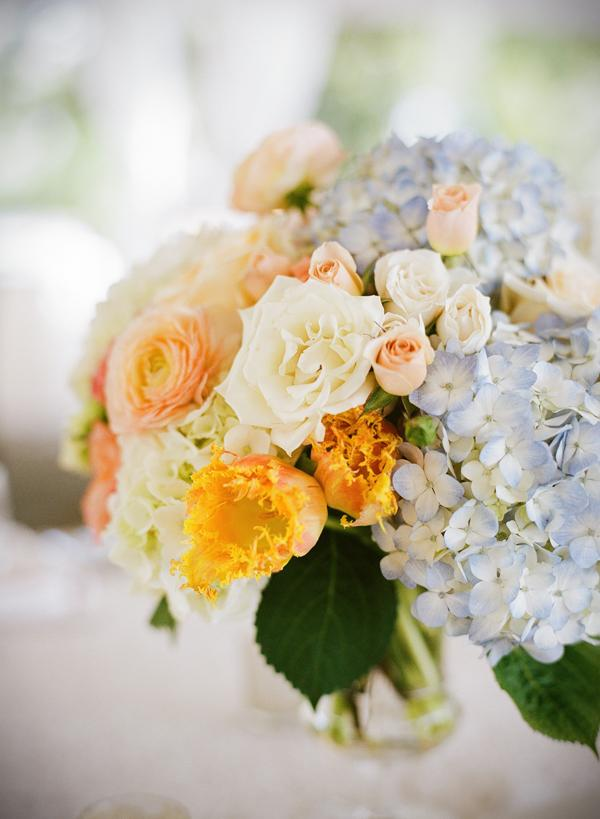 DAINTY DOES IT: Bride Anna told event planner Luke Wilson she wanted flowers subtle in color.