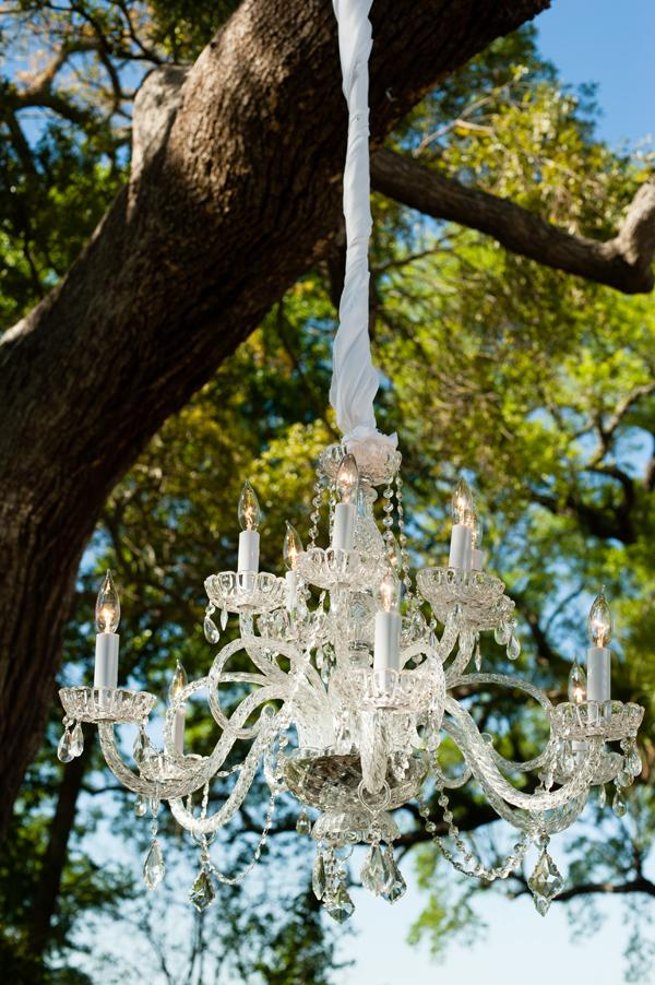 "A LOOK ABOVE: Twisted white fabric fancied up light fixtures outdoors. ""It all looked very elegant,"" says Anna."
