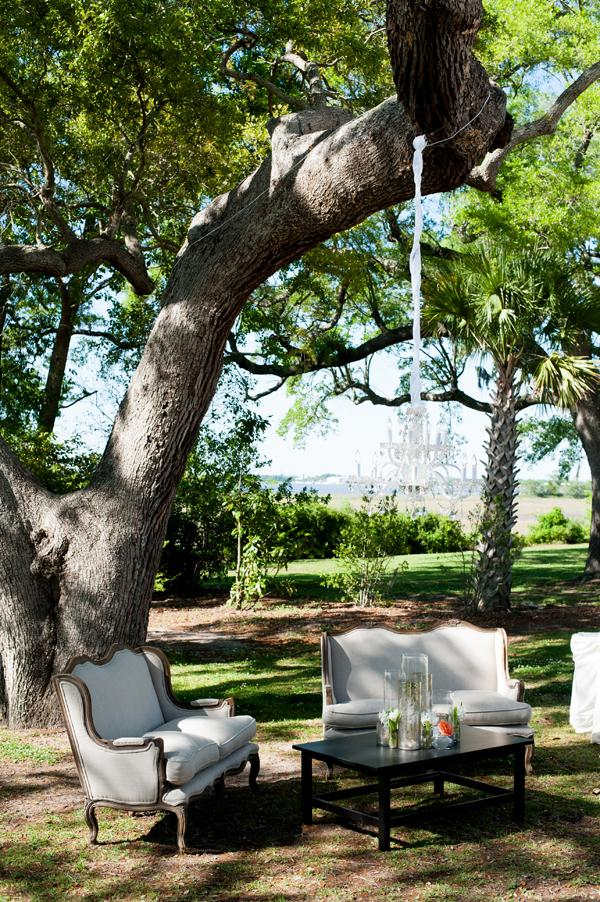 SOUTHERN COMFORT: Neutral-colored furniture complemented the earthy appeal of Lowndes Grove Plantation.