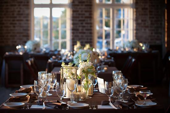 "TIME TO DINE: Lyndsey says of the reception's sit-down dinner: ""Time slowed a bit when Brian and I sat at our sweetheart table, surrounded by all of our loved ones, and took a moment to really enjoy our first meal together."""