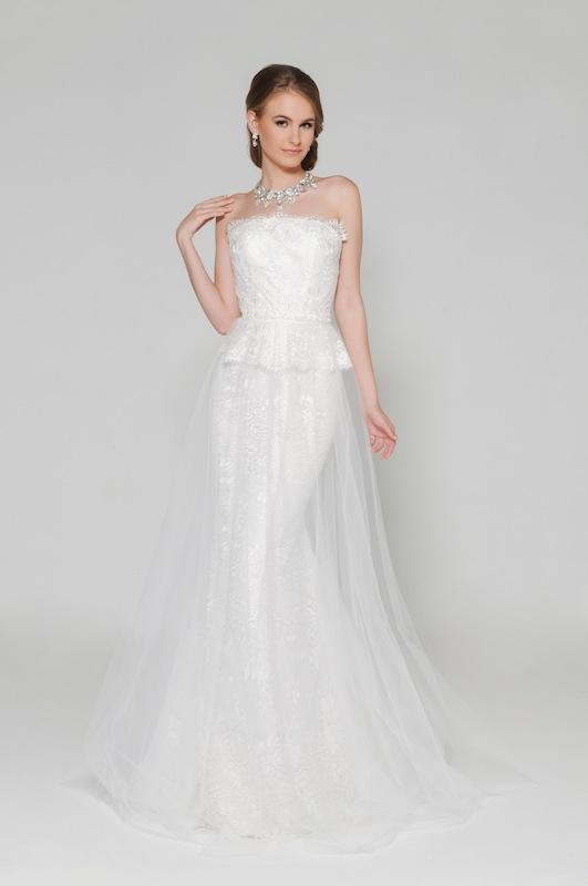 "Eugenia Couture's ""Felicity"" with overskirt. Available through EugeniaCouture.com."